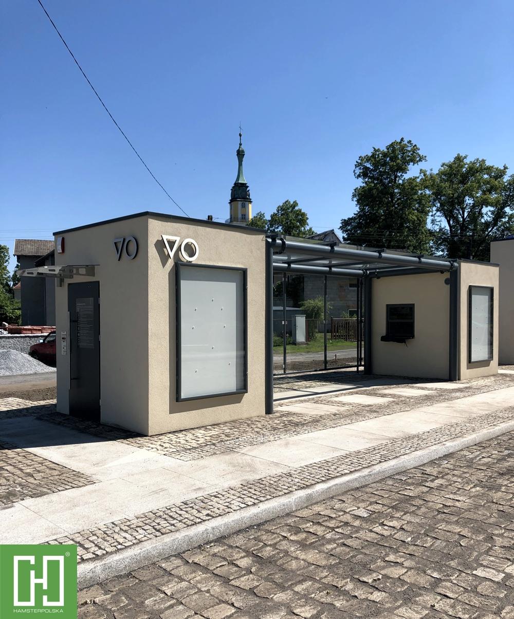 Automatyczna toaleta publiczna Papilio Uno Struktura oraz kiosk Papilio Struktura w Pokoju